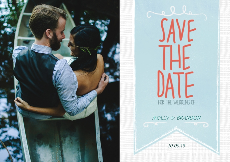 Save the Date 5x7 Cards, Premium Cardstock 120lb with Rounded Corners, Card & Stationery -Hanging Banner Save the Date