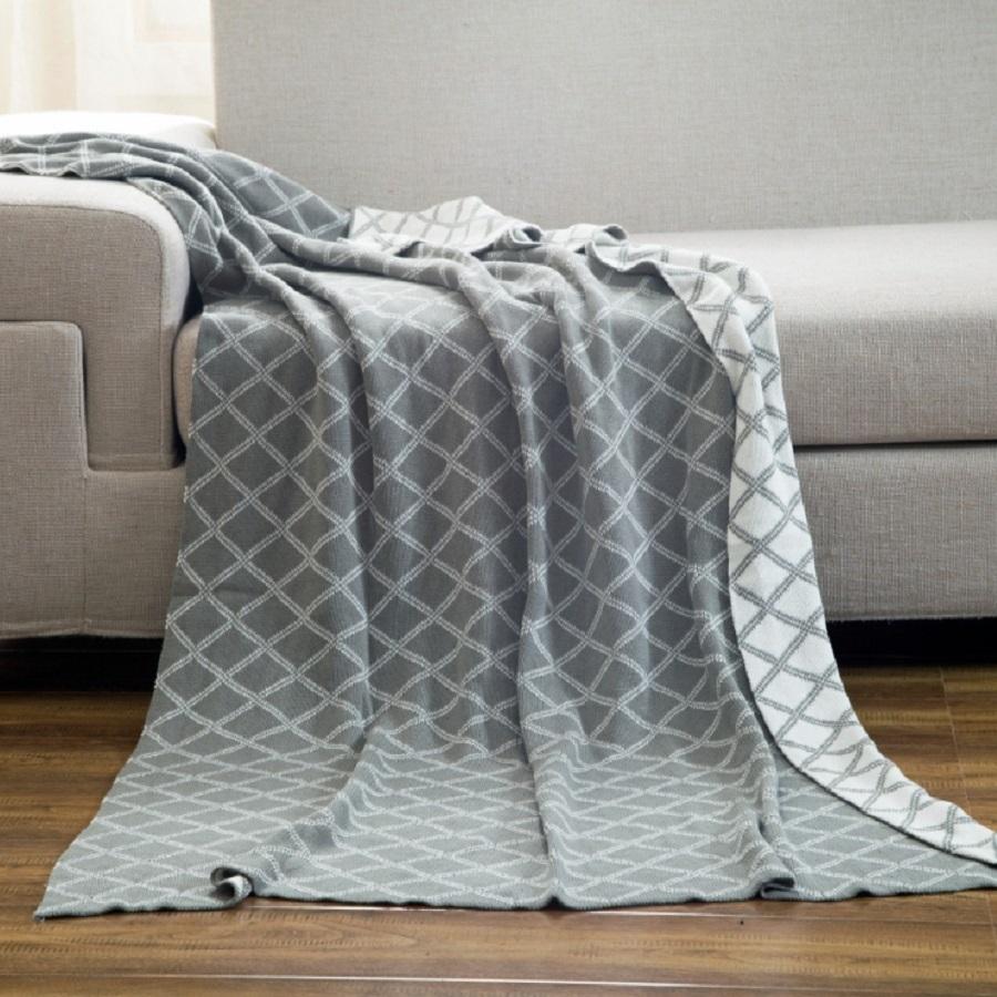 Geometric Rhombus Pattern Plaid Cotton Knitting Blanket