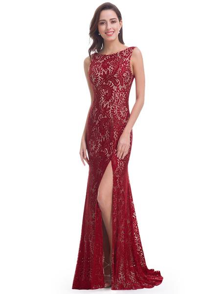 Milanoo Vestidos de fiesta largos Vestido de noche sin mangas con escote redondo con abertura lateral