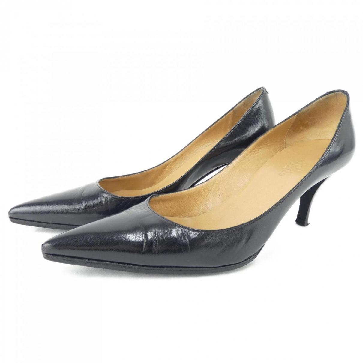 Hermès \N Black Leather Heels for Women 34 EU