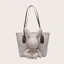 Rabbit Decor Houndstooth Graphic Tote Bag