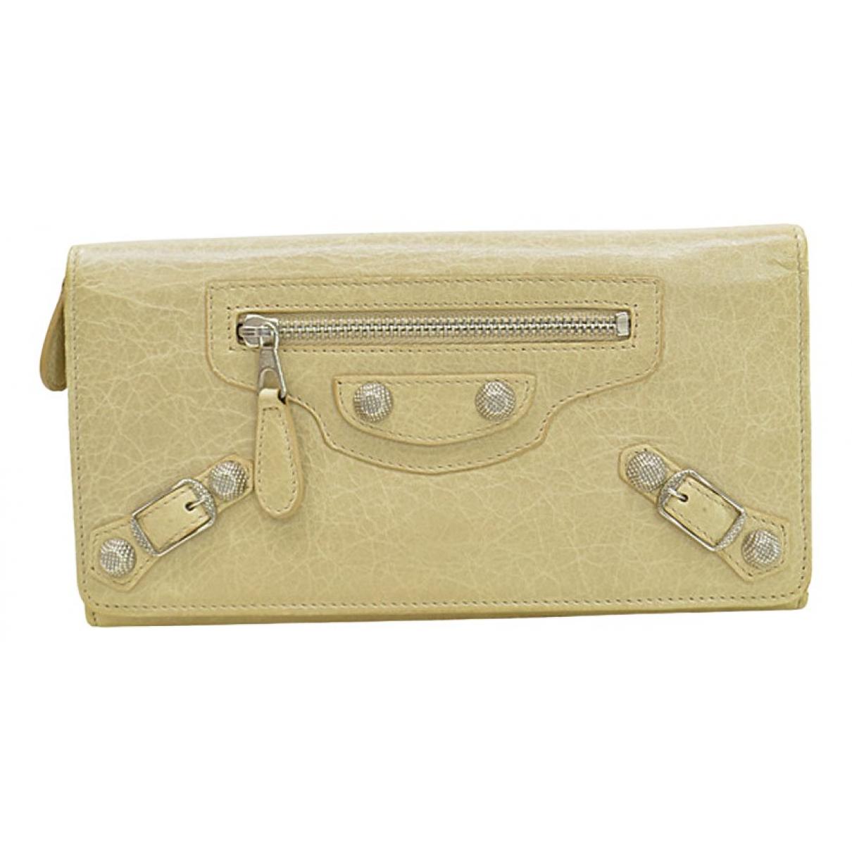 Balenciaga - Portefeuille   pour femme en cuir - beige