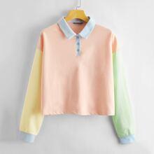 Pullover mit halber Knopfleiste und Farbblock