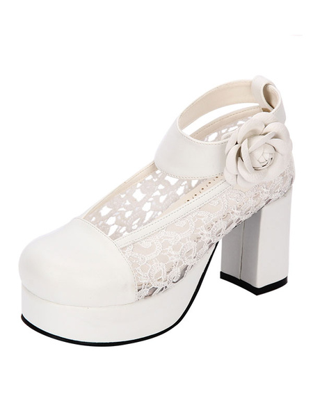 Milanoo Sweet Lolita Shoes Round Toe Chunky Heel PU Lace Flower White Lolita Pumps
