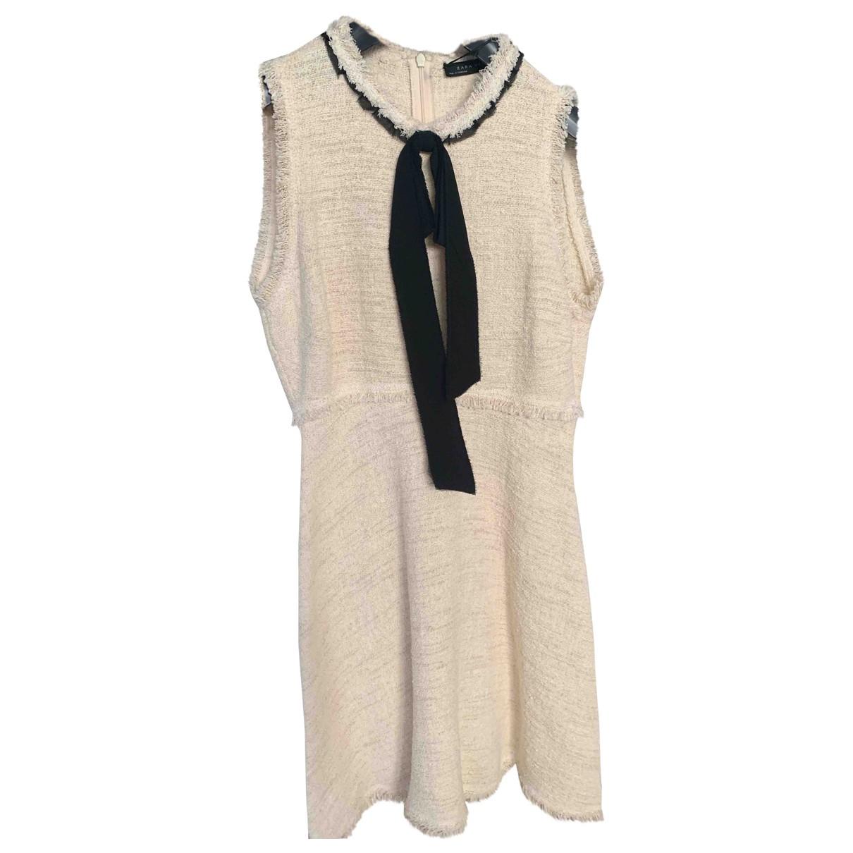 Zara \N Kleid in  Ecru Baumwolle