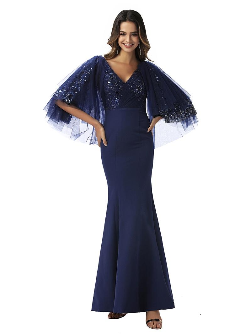 Ericdress Mermaid V-Neck Half Sleeves Evening Dress 2020