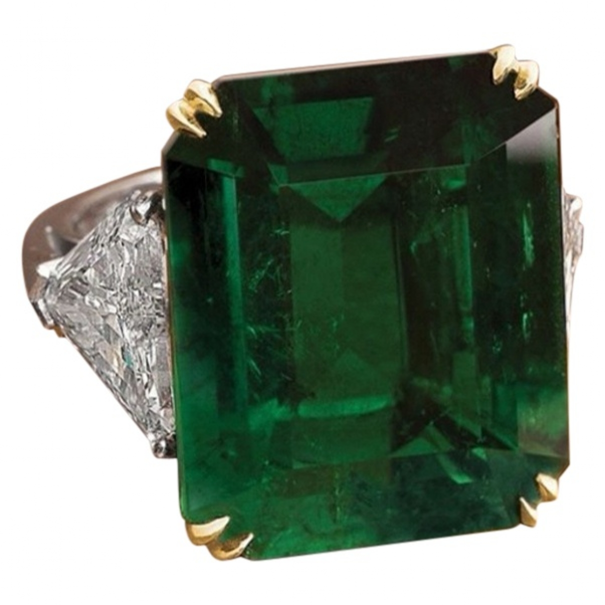 Non Signe / Unsigned Emeraude Ring in  Gruen Weissgold