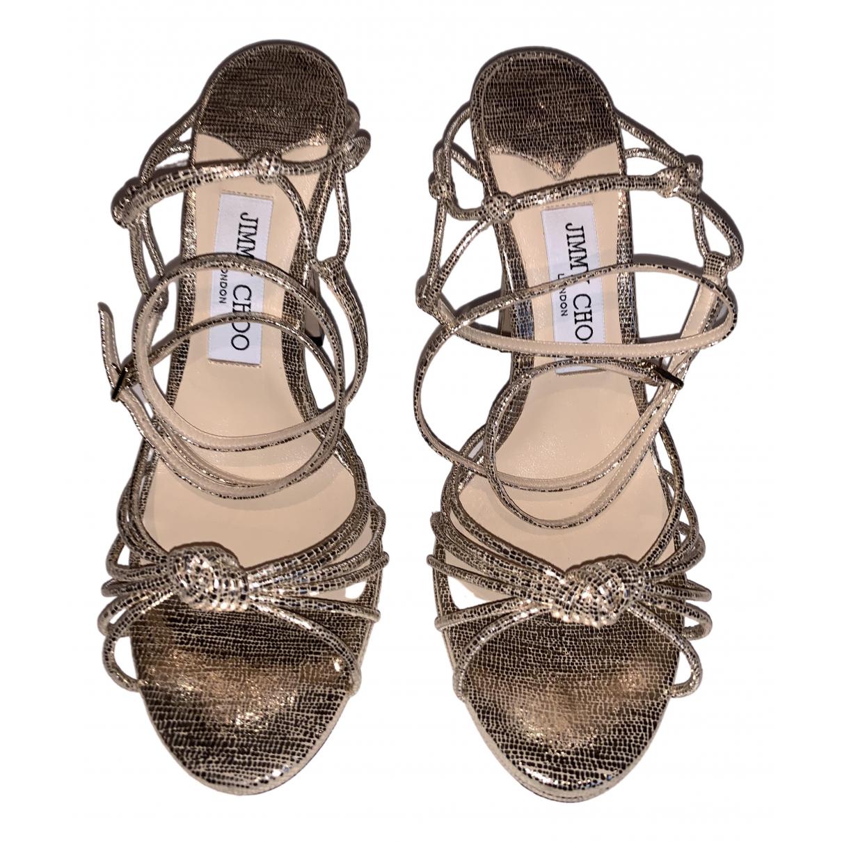 Jimmy Choo \N Gold Leather Sandals for Women 38.5 EU