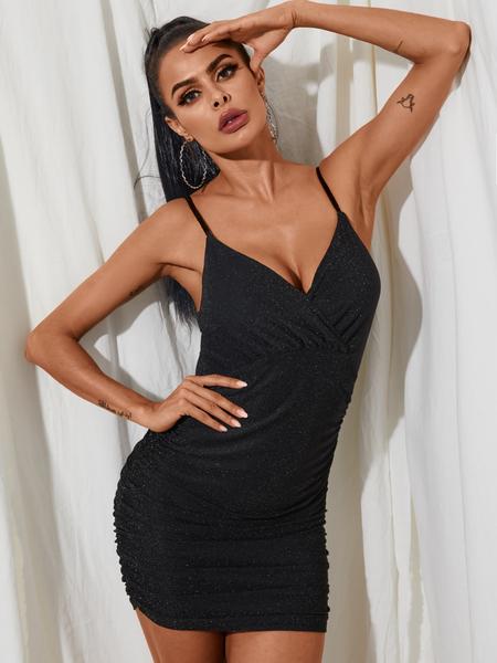 YOINS Black Glitter V-neck Spaghetti Strap Sleeveless Mini Dress