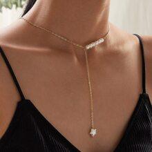 Faux Pearl Y Lariat Necklace
