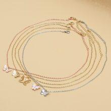 5 piezas collar con mariposa