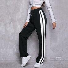 Drawstring Waist Side Striped Pants