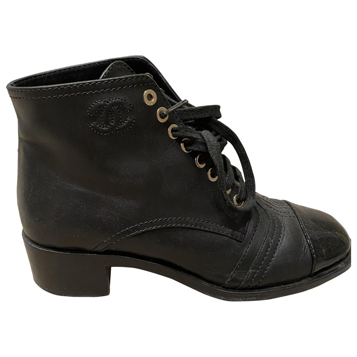 Chanel \N Stiefeletten in  Schwarz Leder