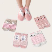 5 pares calcetines con estampado de gato de dibujos animados