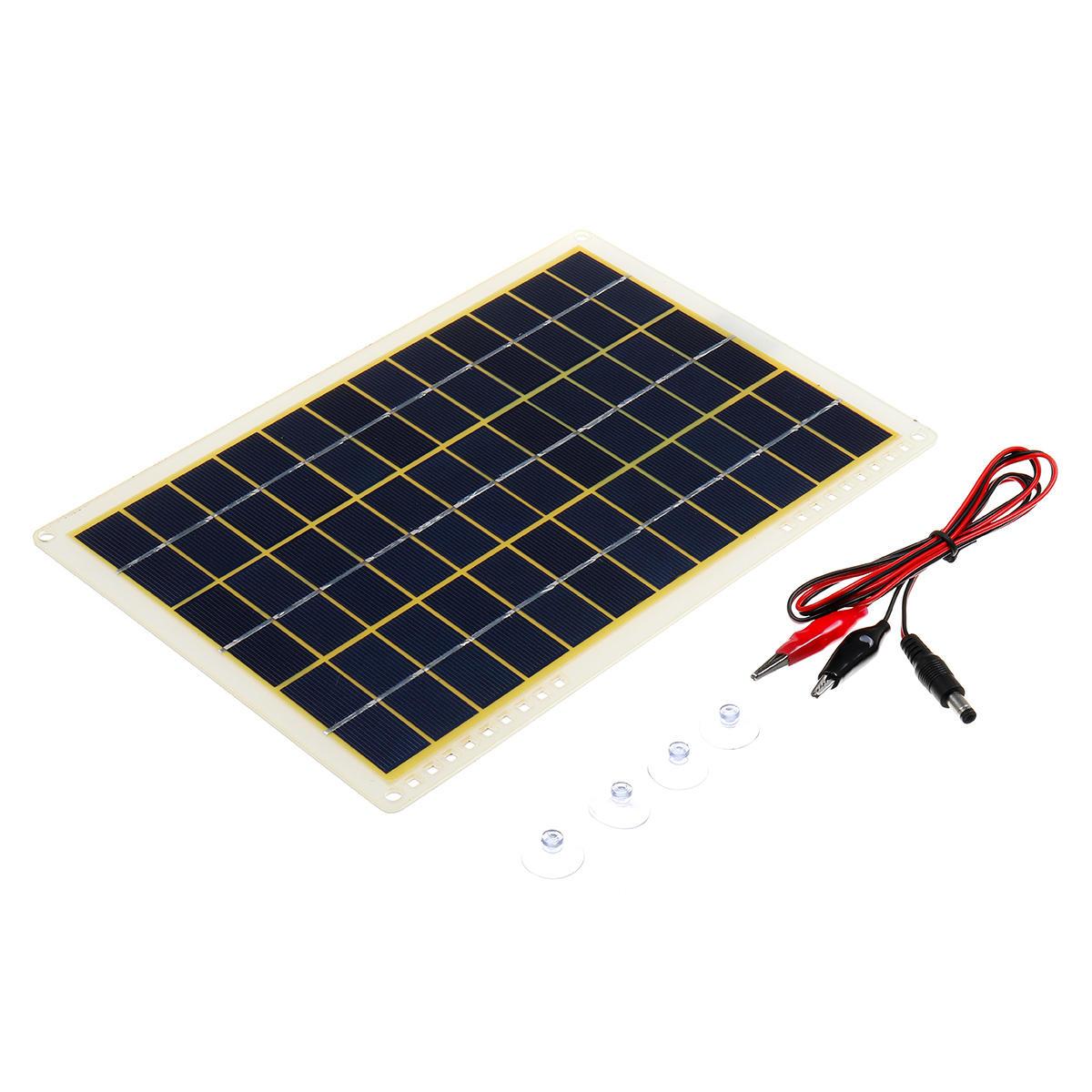 15W 18V 27*19cm IP65 Polycrystalline Solar Panel with USB Port+4Pcs Suction Cups