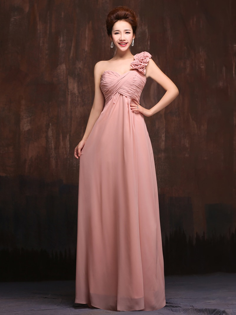 Simple One Shoulder Empire Long Bridesmaid Dress
