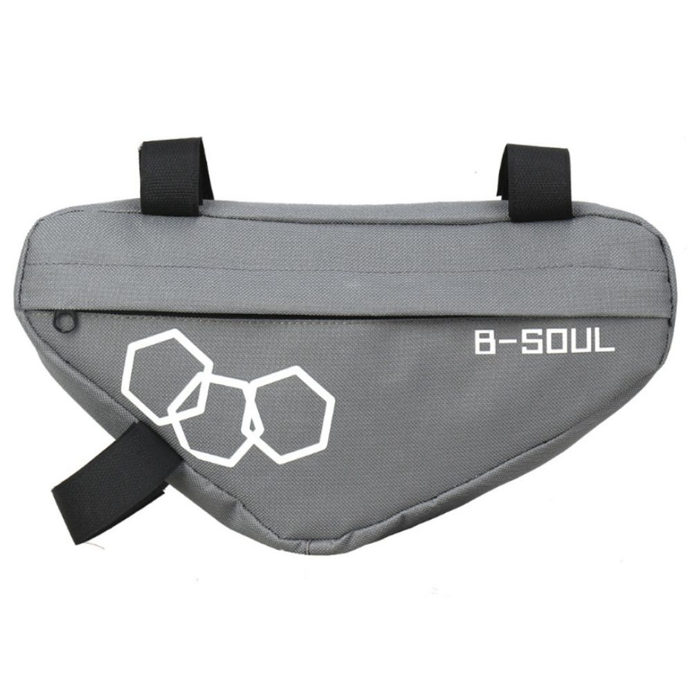 B-SOUL Bicycle Triangle Bag Large Capacity Fully Upper Pipe Saddle Front Beam Bag - Gray