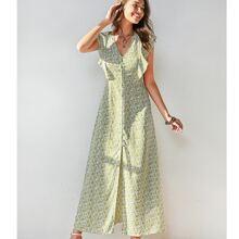 Ruffle Armhole Ditsy Floral Print Dress