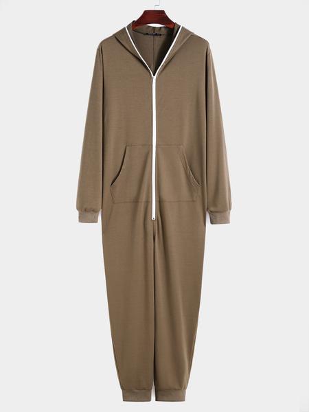 Yoins Men Casual Zipper Kangaroo Pocket Hooded Overalls Jumpsuit
