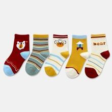 5 Paare Baby Socken mit Streifen Muster