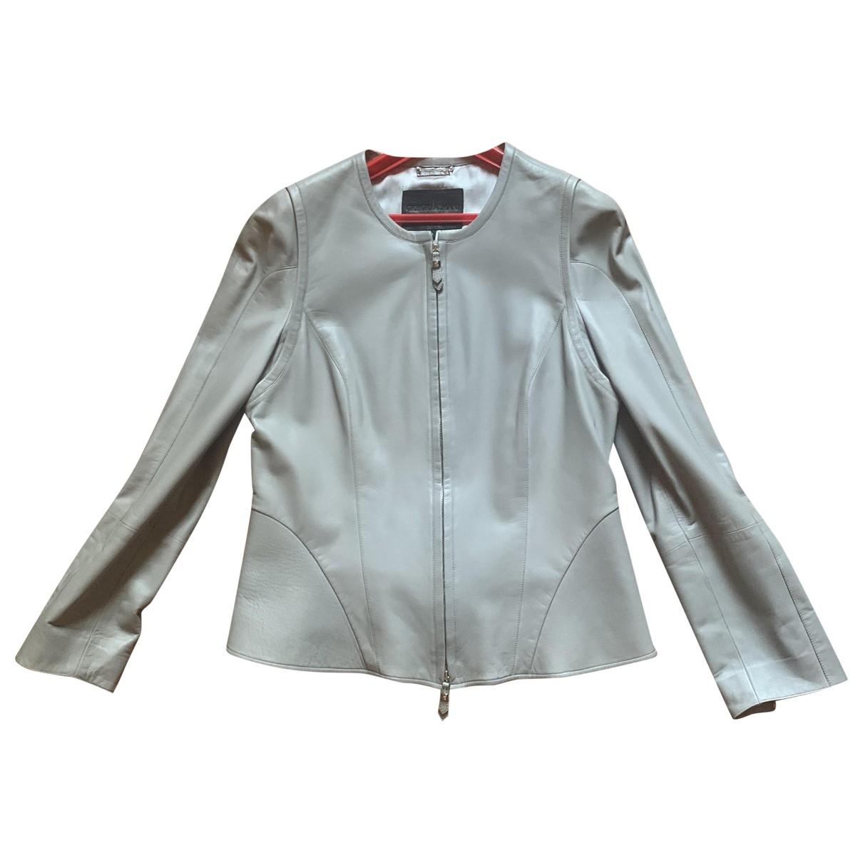 Giorgio Armani - Veste   pour femme en cuir - gris