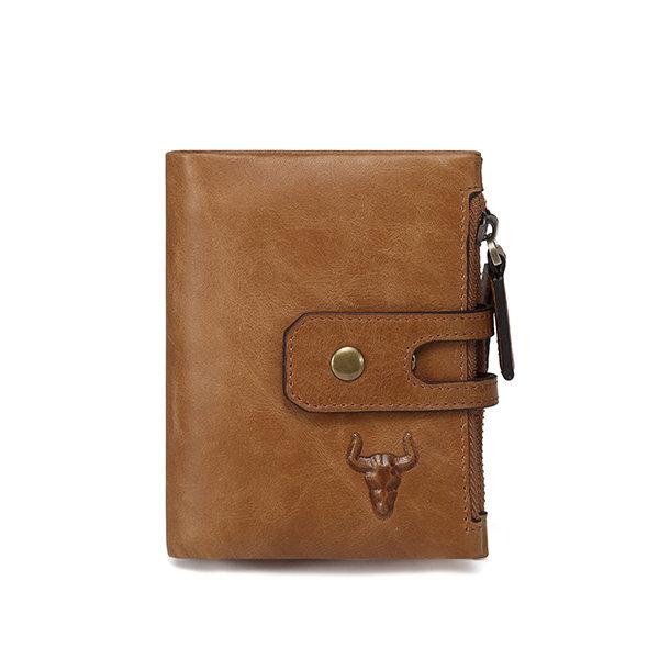 Men Genuine Leather RFID Antimagnetic Double Zipper Wallet