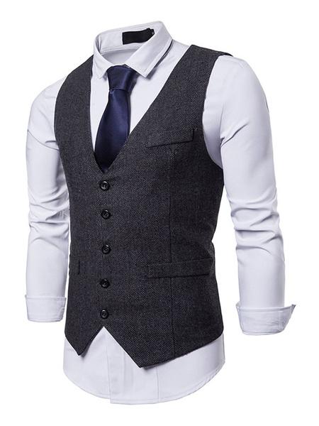Milanoo Men Suit Vest V Neck Button Up Pocket 1920s Black Waistcoat
