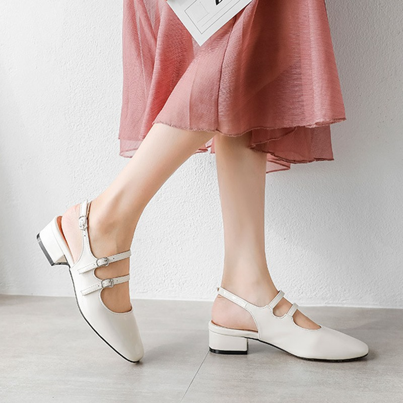 Ericdress Buckle Chunky Heel Closed Toe Korean Sandals