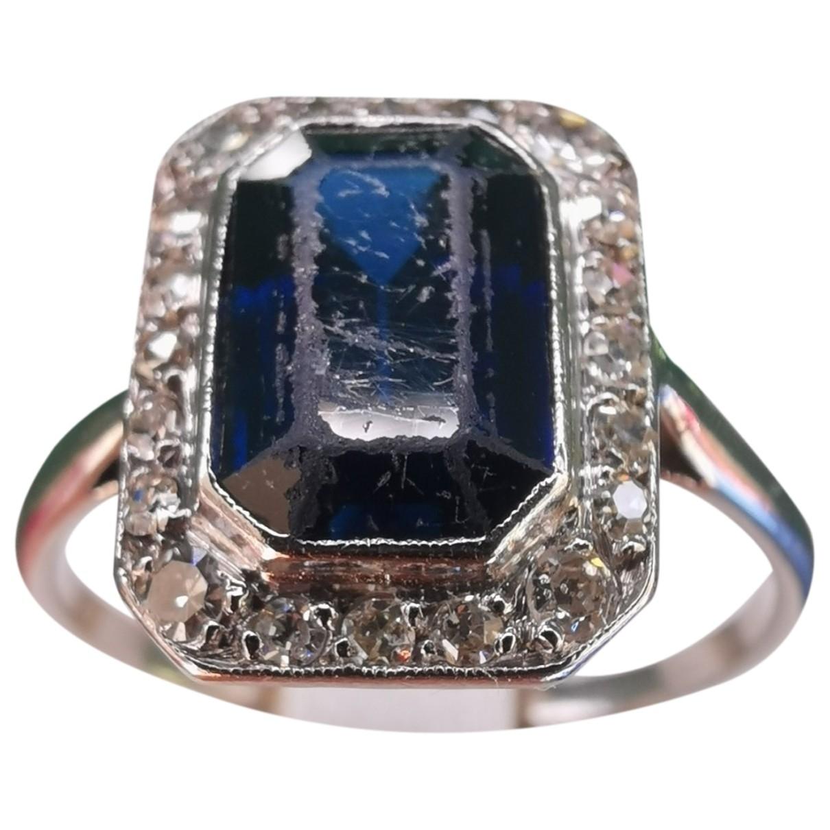 Non Signe / Unsigned Saphir Ring in  Grau Platin