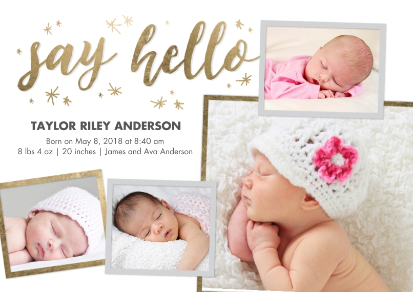 Baby Boy Announcements Flat Matte Photo Paper Cards with Envelopes, 5x7, Card & Stationery -Baby Gold Hello
