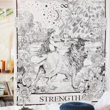 Tapiz con estampado de niña y leon