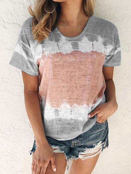 Milanoo Camisetas de manga corta Tie Dye T Shirt para la Mujer