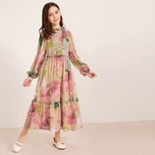 Vestido de niñas de manga globo ribete fruncido con estampado floral