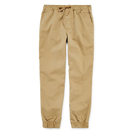 Arizona Little & Big Boys Mid Rise Tapered Jogger Pant, 10 , Beige