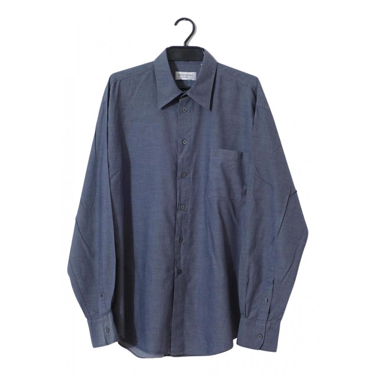 Yves Saint Laurent N Grey Cotton Shirts for Men L International