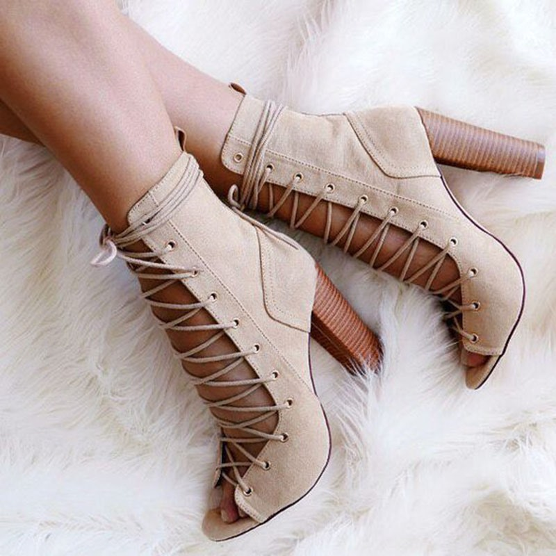 Ericdress Elegant Lace up Cut Out Chunky Sandals