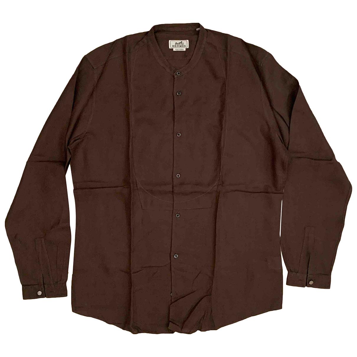 Hermes - Chemises   pour homme en lin - marron