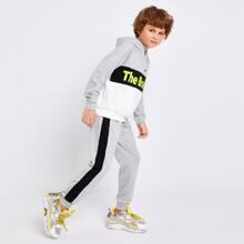 Hoodie & Jogginghose Set mit Raglanaermeln, Buchstaben Grafik und Farbblock