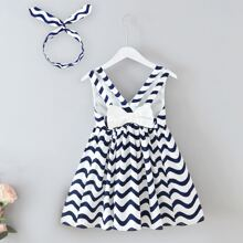 Toddler Girl Wave Striped Bow Tie Dress With Hairband