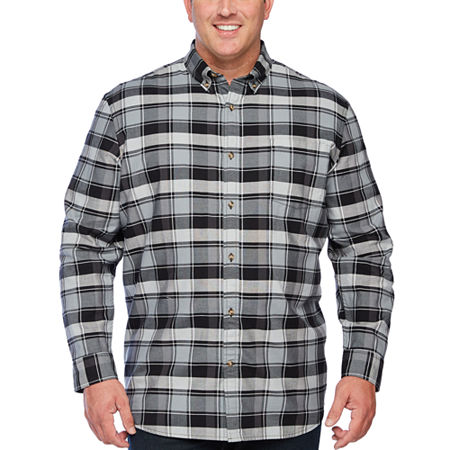 The Foundry Big & Tall Supply Co. Big and Tall Mens Long Sleeve Button-Down Shirt, 3x-large Tall , Black