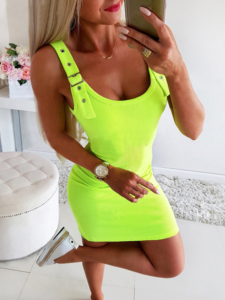 Yoins Knit Adjustable Shoulder Straps Round Neck Sleeveless Vest Dress