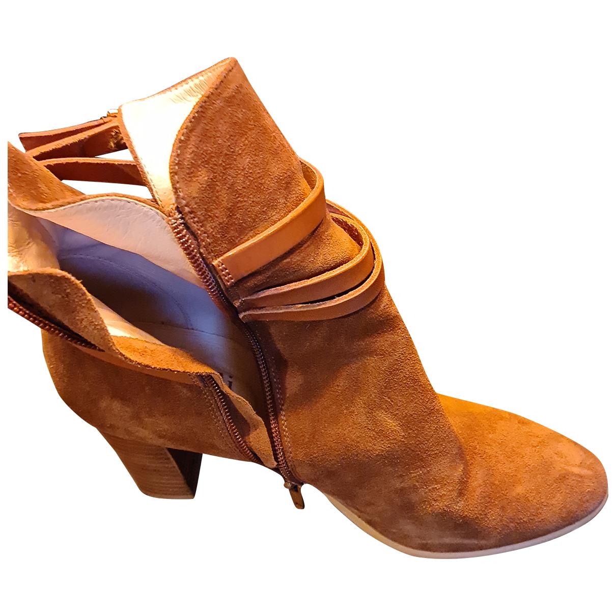 Minelli - Boots   pour femme en suede - camel