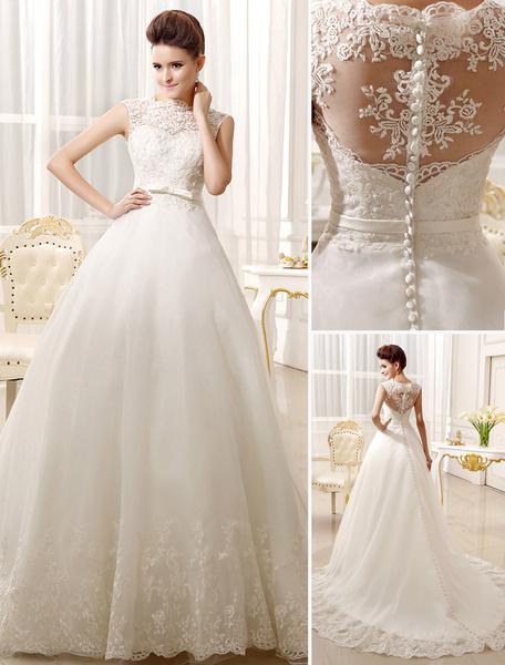 Milanoo Vestidos de novia apliques de encaje vestido nupcial Bow Sash cariño Illusion tren vestido de novia