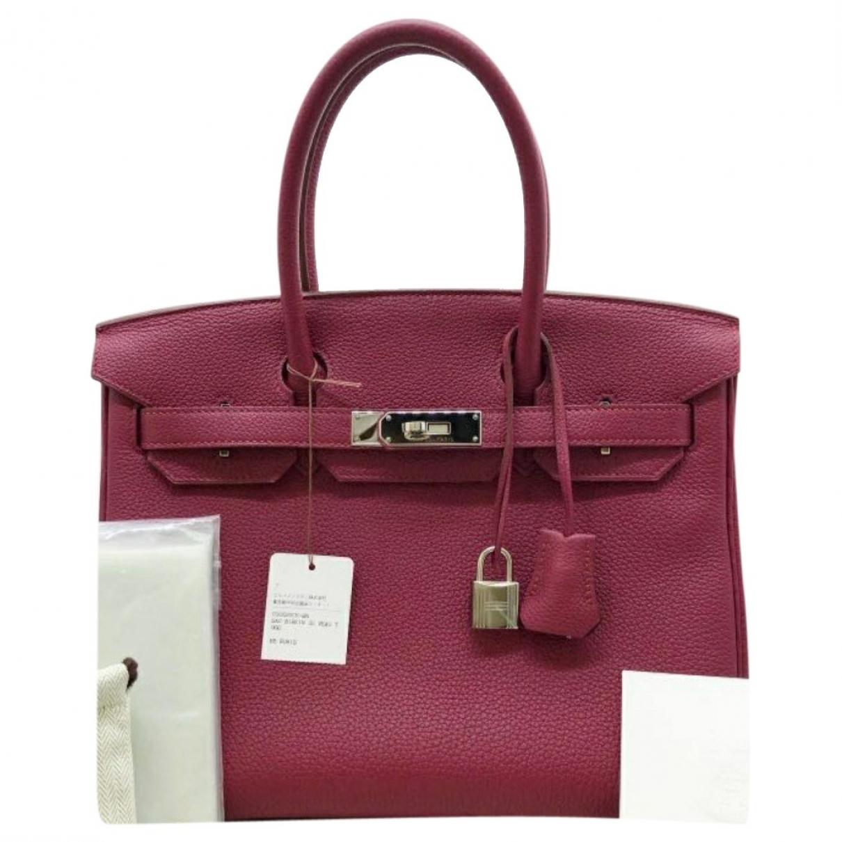Hermes Birkin 30 Handtasche in  Rot Leder