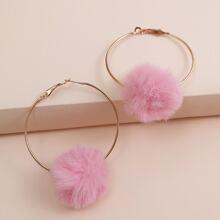 Fuzzy Ball Decor Hoop Earrings