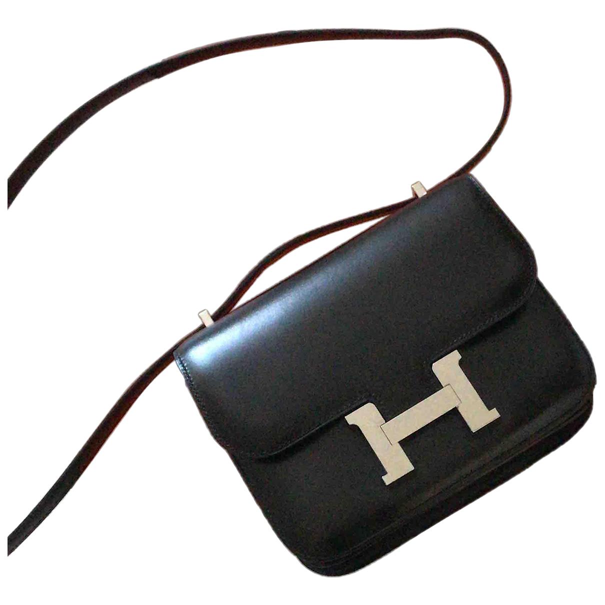 Hermes - Sac a main Constance pour femme en cuir - noir