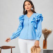 Einfarbige Bluse mit mehrschichtigen Rueschen