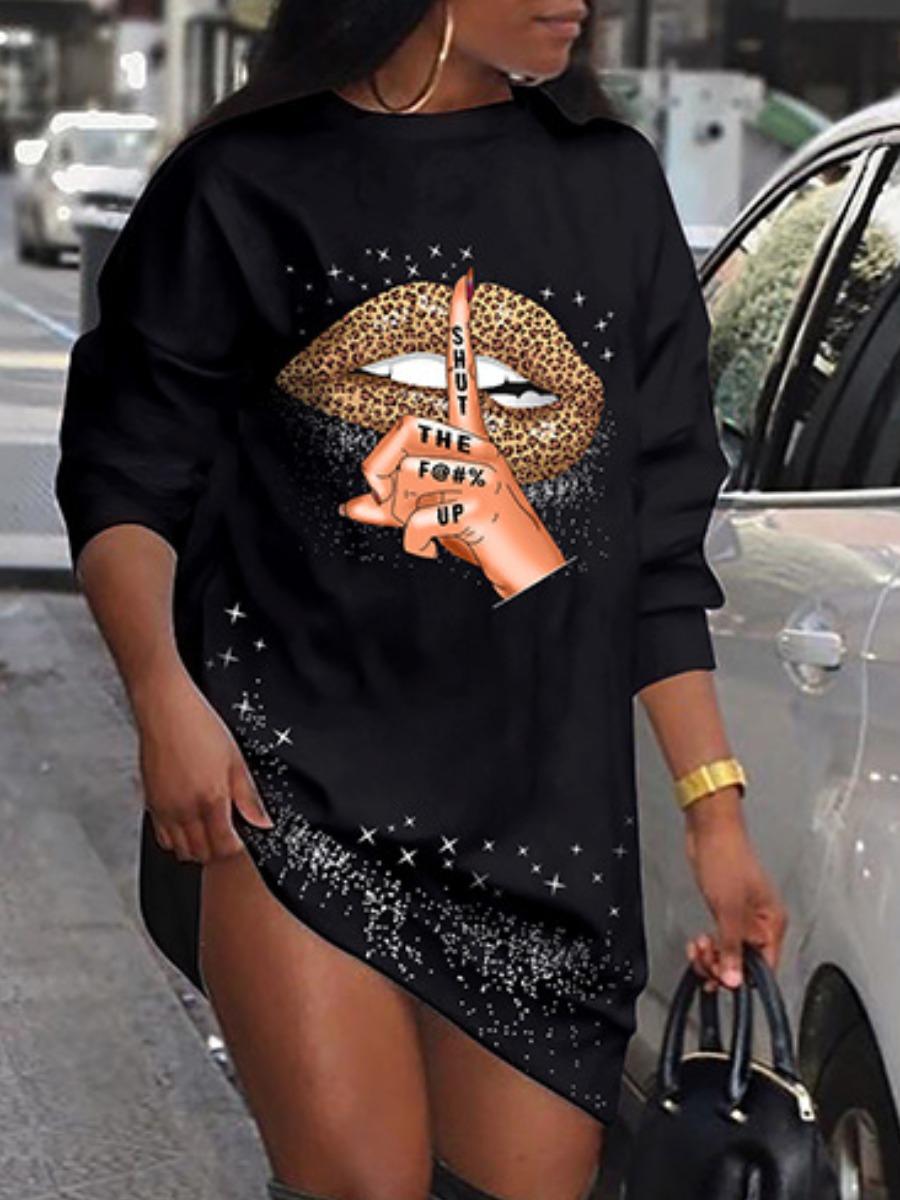 LW lovely Street O Neck Lip Print Black Mini T-shirt Dress