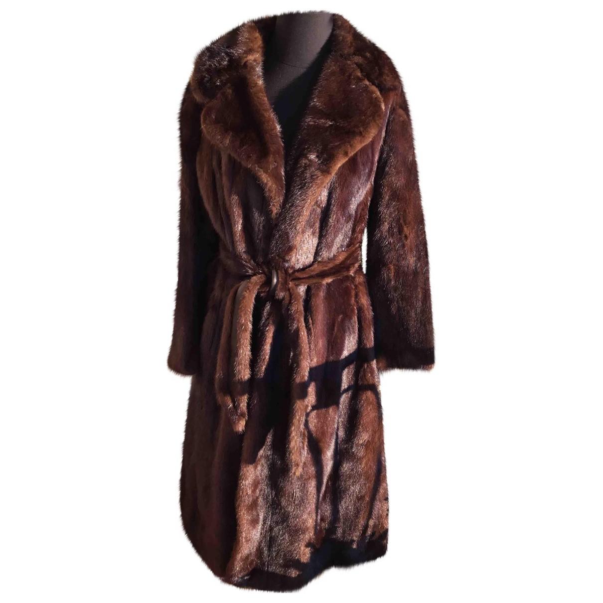 Sprung Freres - Manteau   pour femme en vison - marron