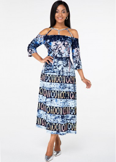 Cocktail Party Dress Strappy Neck Three Quarter Sleeve Printed Dress - S